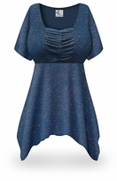 CLEARANCE! Plus Size Embossed Blue Glitter Print Babydoll Top 2x