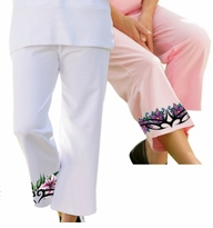 SALE! Plus-Size Floral Crest Active Knit Capri Pants 1x 2x 3x 4x 5x 6x 7x 8x Many Colors!