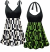 CLEARANCE! Plus Size Geometric Print Halter or Shoulder Strap Swimsuit/SwimDress 6x