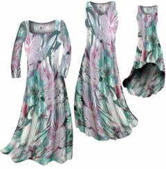 CLEARANCE! Plus Size Lavender Floral Watercolor Slinky Print Dress 0x 2x
