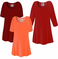 FINAL CLEARANCE SALE! Plus Size Red or Orange Slinky Top 1x6x