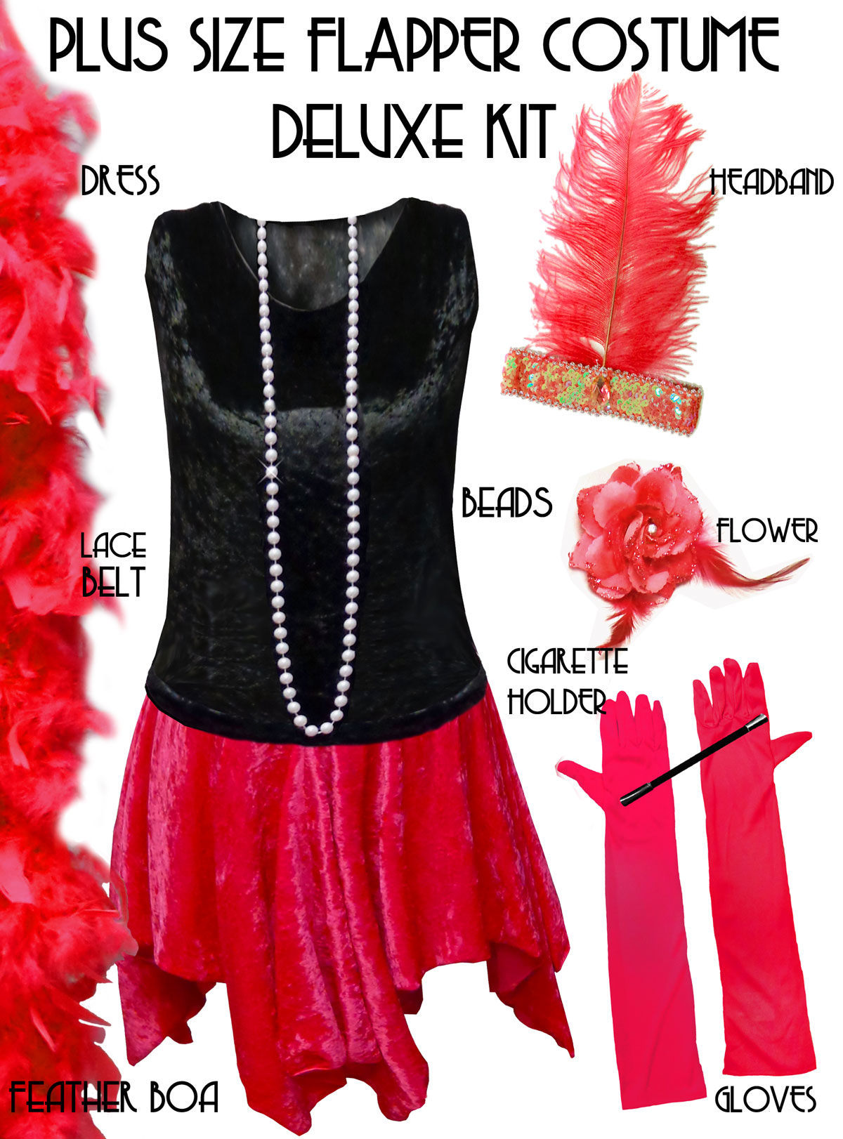 37d114bf5cf81 Plus Size Roaring 20 s Flapper Costume Black   Red Halloween Costume Kit Plus  Size   Supersize