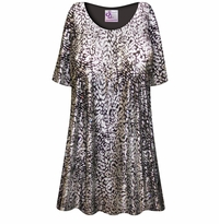 CLEARANCE! Plus Size Silver & Black Sparkly Sequins Slinky Print Tops 4x