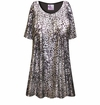 CLEARANCE! Plus Size Silver & Black Sparkly Sequins Slinky Print Tops 3x