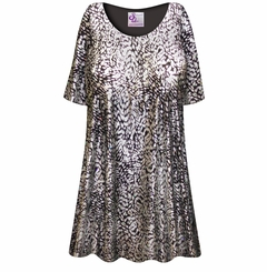 FINAL CLEARANCE SALE! Plus Size Silver & Black Sparkly Sequins Slinky Print Tops 4x