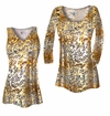 CLEARANCE! Plus Size Tan With Gold Metallic Little Leopard Spots Horizontal Slinky Print Tops 4x 5x
