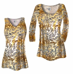 FINAL CLEARANCE SALE! Plus Size Tan With Gold Metallic Little Leopard Spots Horizontal Slinky Print Tops 4x 5x
