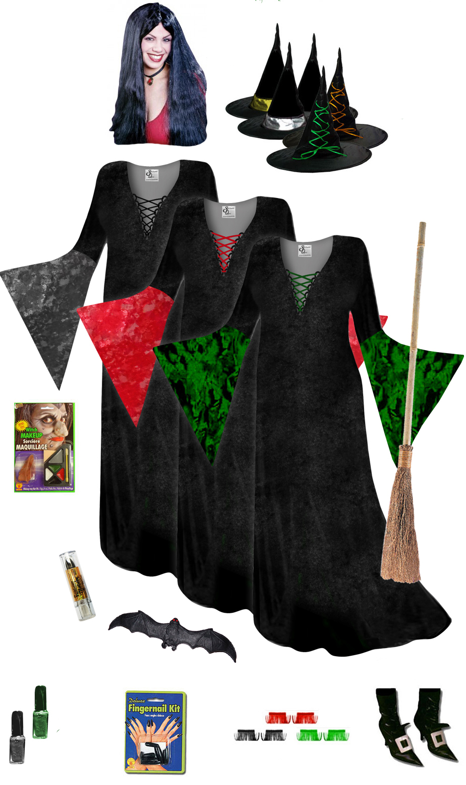 final clearance sale! plus size witch costume and accessories! plus