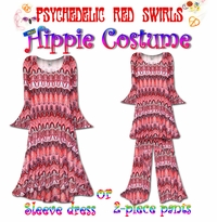 CLEARANCE! Hippie Plus Size Supersize Costume and Accessories! Psychedelic Red Swirl 60�s Style Retro Dress Halloween Costume Kit LG XL 2x