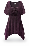 SOLD OUT! CLEARANCE! Purple Glimmer Plus Size & Supersize Babydoll Top 2x