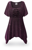 CLEARANCE! Purple Glimmer Plus Size & Supersize Babydoll Top 2x