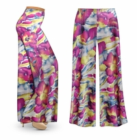 CLEARANCE! Purple & Lime Floral With Sparkles Slinky Print Plus Size & Supersize Palazzo Pants  7x