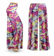 SOLD OUT! CLEARANCE! Purple & Lime Floral With Sparkles Slinky Print Plus Size & Supersize Palazzo Pants  7x