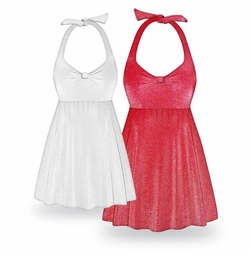 CLEARANCE! Red or White Glimmer Halter or Straps Style Plus Size Swimsuit / SwimDress 2x