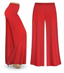 CLEARANCE! Red Wide Leg Palazzo Pants in Slinky, Velvet or Cotton Fabric - Plus Size & Supersize LG 2x