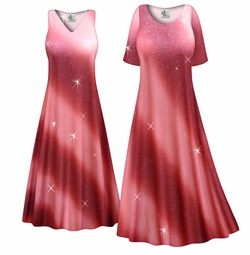 SOLD OUT! CLEARANCE! Rosy Glitter Slinky Print Plus Size & Supersize Dress 4x