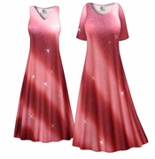 CLEARANCE! Rosy Glitter Slinky Print Plus Size & Supersize Dress 4x