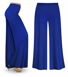 CLEARANCE! Royal Blue Wide Leg Palazzo Pants in Slinky, Velvet or Cotton Fabric - Plus Size & Supersize 2x 4x