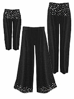 CLEARANCE! Gorgeous Slinky or Velvet Sparkly Rhinestone Starry Night Plus Size Pants - Leggings - Palazzo  2x