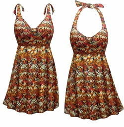 CLEARANCE! Sedona Print Halter or Straps Style Plus Size Swimsuit / SwimDress 0x