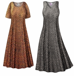 CLEARANCE! Shimmery Leopard Slinky Print Plus Size & Supersize Dress 3x