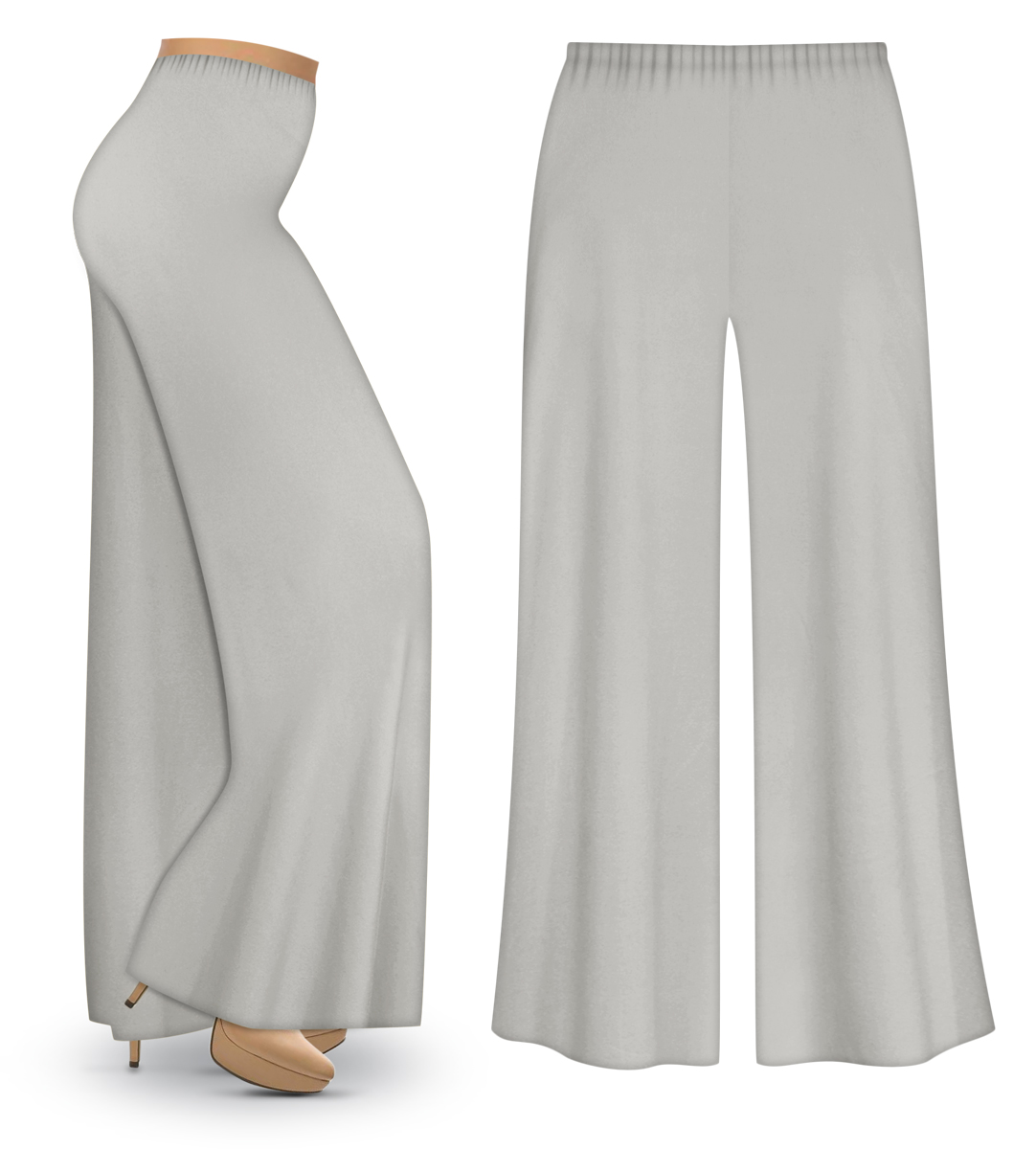 CLEARANCE! Silver Gray Wide Leg Palazzo Pants in Slinky, Velvet or ...