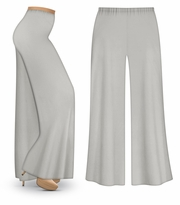 CLEARANCE! Silver Gray Wide Leg Palazzo Pants in Slinky, Velvet or Cotton Fabric - Plus Size & Supersize LG XL 1x