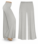 CLEARANCE! Silver Gray Wide Leg Palazzo Pants in Slinky, Velvet or Cotton Fabric - Plus Size & Supersize LG