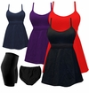 CLEARANCE! Solid Colored Plus Size 2 Piece Babydoll Empire Waist Swim Tank w/Tie & Swim Shorts 0x 1x 3x 4x 5x