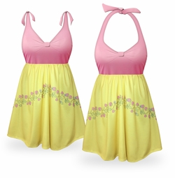 SOLD OUT! CLEARANCE! Strawberry Lemonade Halter Plus Size Swimsuit/SwimDress 2x