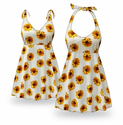 SOLD OUT! CLEARANCE! Sunflower Print Halter or Straps Style Plus Size Swimsuit / SwimDress 1x