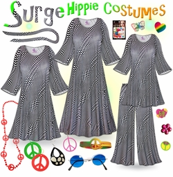 CLEARANCE! Surge Print Plus Size Hippie Costume - 60's Style Retro Dress or Top & Wide-Bottom Pant Set Plus Size & Supersize Halloween Costume Kit 1x 4x