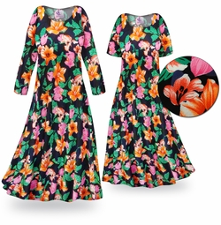 FINAL CLEARANCE SALE! Sweet Lilies Slinky Print Plus Size & Supersize Short or Long Sleeve Dresses 0x