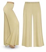 FINAL CLEARANCE SALE! Plus Size Tan Wide Leg Palazzo Pants in Slinky, Velvet or Cotton Fabric XL 0x 1x