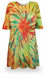SOLD OUT! CLEARANCE! Tangerine Explosion Tie Dye Plus Size & Supersize X-Long T-Shirt 4x
