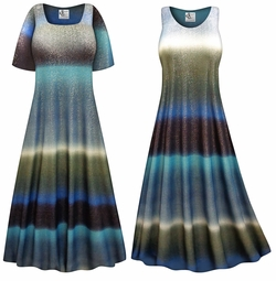 SOLD OUT! Tide Glimmer Slinky Print Plus Size & Supersize Dress
