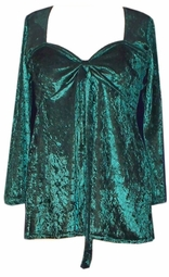 SOLD OUT! SALE!  CLEARANCE! Tie Babydoll Shirt in Deep Royal Green or Rust Crush Velvet Plus Size 0x 1x 2x 3x