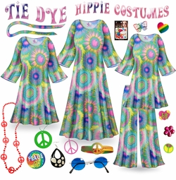 SOLD OUT! CLEARANCE! Tie Dye Print Plus Size Hippie Costume - 60�s Style Retro Dress or Top & Wide-Bottom Pant Set Plus Size & Supersize Halloween Costume Kit 2x 3x 5x