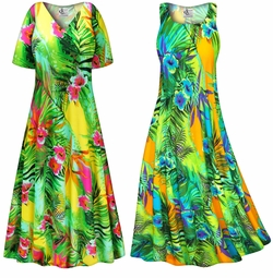 FINAL CLEARANCE SALE! Tropical Gardens Slinky Print Plus Size & Supersize Dress LG