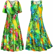 CLEARANCE! Tropical Gardens Slinky Print Plus Size & Supersize Dress LG 0x