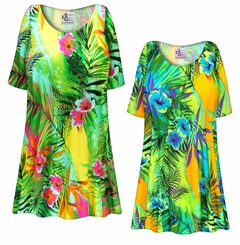 FINAL CLEARANCE SALE! Tropical Gardens Slinky Print Plus Size & Supersize Tops 4x
