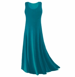 CLEARANCE SALE! Plus Size Teal Slinky Tank Dress 1x