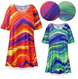 SOLD OUT! Vivid Watercolor Orange or Teal Print Plus Size & Supersize Extra Long T-Shirts