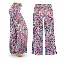 SOLD OUT! CLEARANCE! Watercolor Fantasy Slinky Print Plus Size & Supersize Palazzo Pants 2x