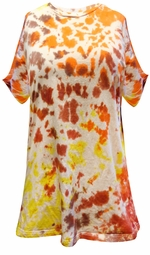 SOLD OUT! CLEARANCE! White, Brown, Orange, Yellow, Red Tie Dye Plus Size T-Shirt 6xl