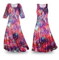 CLEARANCE! Colored Pencil Slinky Print Plus Size & Supersize Dress 1x