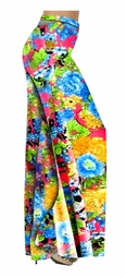 Colorful Floral Slinky Print Special Order Customizable Plus Size & Supersize Pants, Capri's, Palazzos or Skirts! Lg to 9x