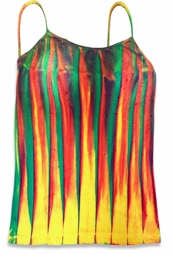 Colorful Lines Tie Dye Spaghetti Strap Plus Size Tank Top 4x