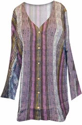 SOLD OUT! Brown & Magenta Colors Stripe V Neck Plus Size Shirt 6x/40W