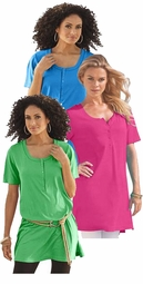 SOLD OUT! SALE! Green, Blue, Turquoise or Hot Pink Fashion Henley Plus Size Tunic Top  6x